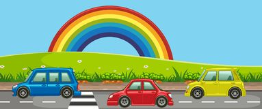 A Beautiful Road Side with Rainbow. Illustration Royalty Free Stock Image