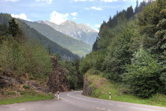 Beautiful road in swiss alps Stock Photo