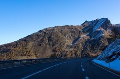 Beautiful road in the Swiss Alps royalty free stock image