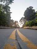 On the beautiful roads of Koh Phangan. The beautiful roads of Koh Phangan go into the distance. Thailand royalty free stock images
