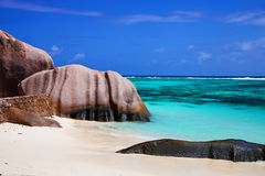 Beautiful rock at Anse Source d'Argent Royalty Free Stock Photos