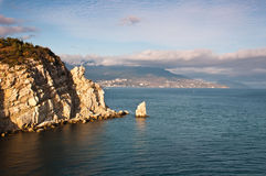 Beautiful rock on the Black Sea shore  Stock Photo