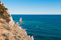 Beautiful rock on the Black Sea shore Royalty Free Stock Photos