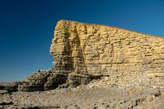 Rock formation at Nash Point, Wales stock images