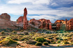Beautiful rock formations in Arches canyon Royalty Free Stock Image