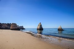 Beautiful rock formations on the coast, the province of Algarve, Portugal Stock Photography