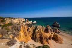 Beautiful rock formations on the coast, the province of Algarve, Portugal Stock Photo