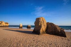Beautiful rock formations on the coast, the province of Algarve, Portugal Stock Image