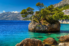 Beautiful rock island,Brela,Makarska riviera,Dalmatia,Croatia,Europe. Stunning summer landscape with rocky island and clean water on the beach,Brela,Makarska Royalty Free Stock Photo