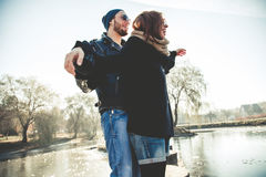 Beautiful rock and roll couple enjoy life outdoors Royalty Free Stock Image