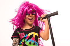 Beautiful Rock Star Girl Singing Royalty Free Stock Photo