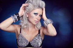 Beautiful rock woman with hair styling and evening make-up. Jewe Stock Photos