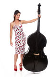 Beautiful Rockabilly Girl with Double Bass Stock Photo
