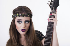 Beautiful rocker punk girl with colorful makeup Royalty Free Stock Photos