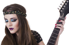 Beautiful rocker punk girl with colorful makeup Royalty Free Stock Photography