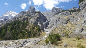 Beautiful rockfall valley of Wimbachgries with blue sky backgrou Stock Photo