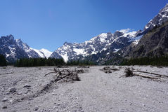 Beautiful rockfall valley of Wimbachgries with blue sky backgrou Stock Image