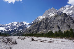 Beautiful rockfall valley of Wimbachgries with blue sky backgrou Royalty Free Stock Photos