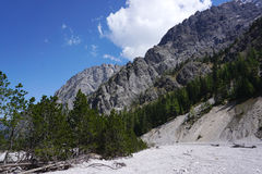 Beautiful rockfall valley of Wimbachgries with blue sky backgrou Royalty Free Stock Image