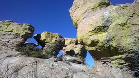 Picturesque rocks. Beautiful rocks against the blue sky stock image