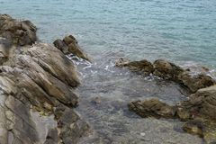 Beautiful rocks on the beach Stock Photos