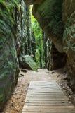 Beautiful rocks in Bohemian Paradise, Czech. Rocks and wood near Prahov, Czech republic Stock Image