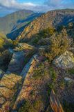 Beautiful rocks at the Catalan highlands. One of the attractions of the Catalan highlands are their spectacular rock formations covered with mosses and lichen royalty free stock image