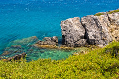 Beautiful rocks and greenery south coast of Crete island Royalty Free Stock Image