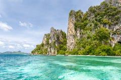 Beautiful rocks mountain and crystal clear sea at Krabi Stock Image