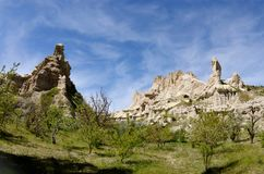Beautiful rocks at Pigeon valley Guvercin vadisi in Cappadocia Stock Photo