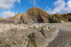 Beautiful rocks on Sandymouth beach North Cornwall England UK with unusual formations near Bude Royalty Free Stock Photography
