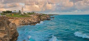 Beautiful rocks at sunrise in Caribbean. Royalty Free Stock Images