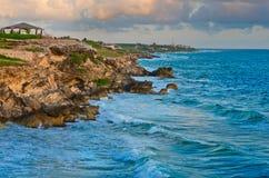 Beautiful rocks at sunrise in Caribbean Stock Image