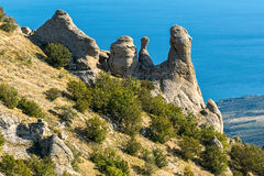 Beautiful rocks in the Valley of Ghosts, Demerdzhi mountain Royalty Free Stock Images