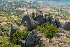 Beautiful rocks in the Valley of Ghosts, Demerdzhi mountain Stock Photography