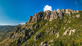 Beautiful rocks in the Valley of Ghosts, Demerdzhi mountain Royalty Free Stock Photography