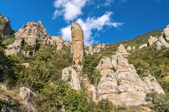 Beautiful rocks in the Valley of Ghosts, Demerdzhi mountain Royalty Free Stock Image