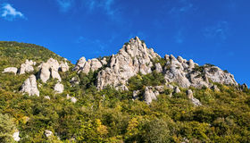 Beautiful rocks in the Valley of Ghosts, Demerdzhi mountain Stock Photo