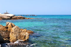 Beautiful rocky beach in Cyprus Royalty Free Stock Image