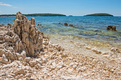 Beautiful rocky beach in Istria, Croatia Stock Photo