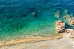 Beautiful rocky beach near Budva city on the coast of Montenegro Royalty Free Stock Images