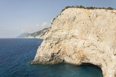 Beautiful rocky cliff and cove at Porto Katsiki beach at Lefkada Royalty Free Stock Photo