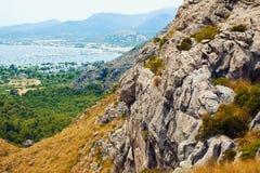 Beautiful rocky coast in Mallorca. Beautiful view of port Alkudia in Mallorca, Spain Stock Image