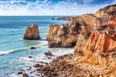Beautiful rocky coast of the ocean, stunning beautiful landscape Stock Images