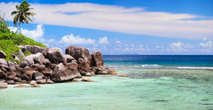 Beautiful rocky coast in Seychelles Royalty Free Stock Photo
