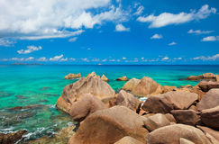 Beautiful rocky coast in Seychelles Stock Photography