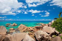 Beautiful rocky coast in Seychelles Royalty Free Stock Images