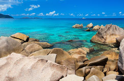 Beautiful rocky coast in Seychelles Royalty Free Stock Image