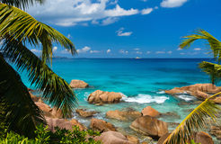Beautiful rocky coast in Seychelles Royalty Free Stock Photography