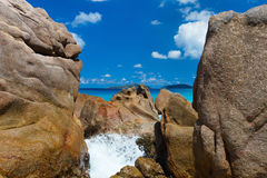 Beautiful rocky coast in Seychelles Royalty Free Stock Image
